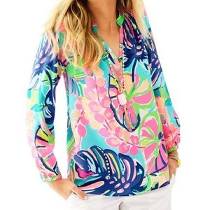 Lilly Pulitzer Exotic Gardens Silk Elsa Blouse M